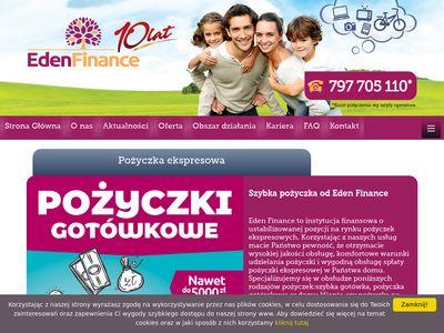 Eden Finance - szybka pożyczka w domu