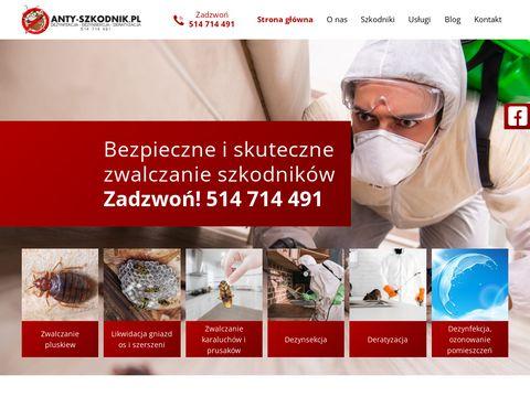 Anty-szkodnik.pl Deratyzacja Dezynsekcja Dezynfekcja. Zwalczanie pluskwy domowej, prusaków.