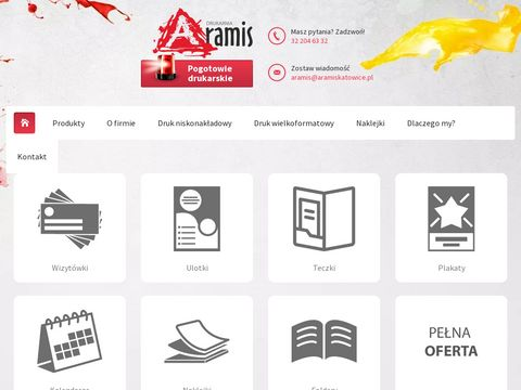ARAMIS Katowice - Druk Cyfrowy, projektowanie, Strony www, Okleiny, Reprodukcje, Fotoprezenty
