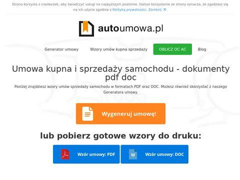 Umowa Kupna Sprzeda偶y Samochodu
