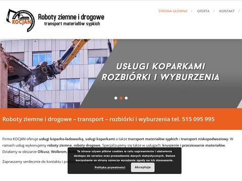 Roboty ziemne, drogowe - usługi koparko-ładowarką Kocjan