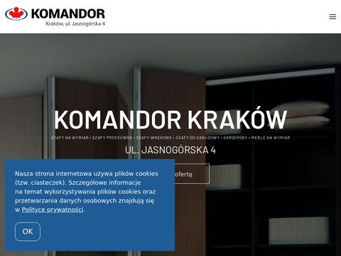 Komandor AWIN Kraków Szafy na wymiar: Przesuwne, Wnękowe, do Zabudowy!