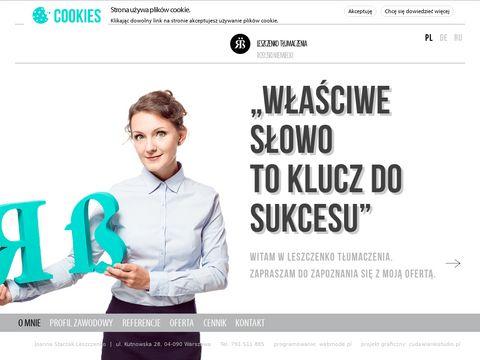 Leszczenko TÅ'umaczenia: NIEMIECKI, ROSYJKI