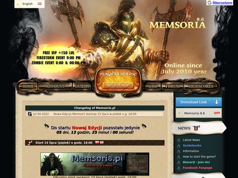 Memsoria.pl - Prywatny Serwer Tibijski (8.6)