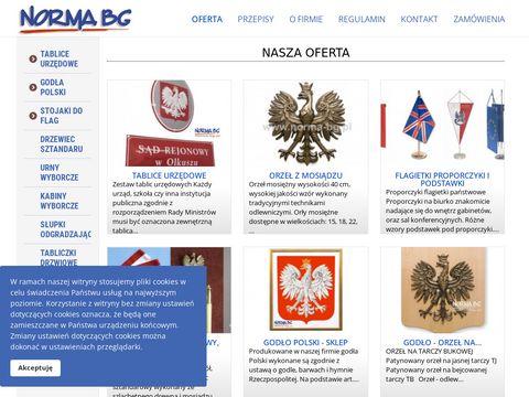 NORMA BG - Godła Polski, emaliowane tablice urzędowe.