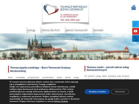 BOCZKOWSKA GRAŻYNA tłumacz przysięgły języka czeskiego