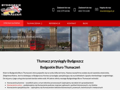BIURO T�UMACZEŃ BYDGOSZCZ tłumacze przysięgli bydgoszcz