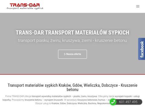 Transport wywrotką piasku, kruszywa - Kraków