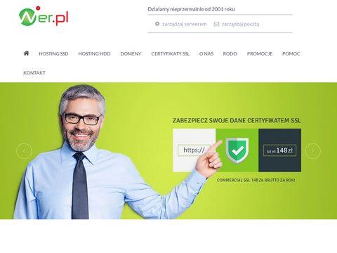 Wer.pl - Hosting stron www,, Domeny, Certyfikaty SSL.