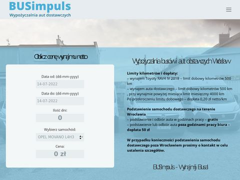 Wypożyczalnia aut dostawczych Wrocław BUSimpuls