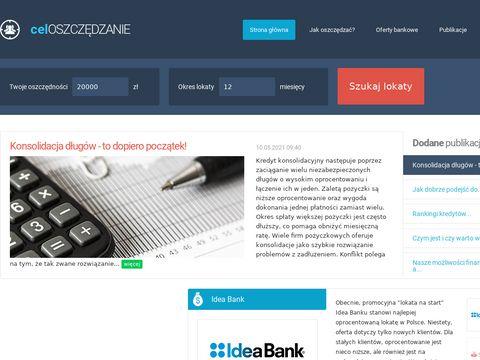 Tutaj sprawdzisz oprocentowanie lokat bankowych www.celoszczedzanie.pl