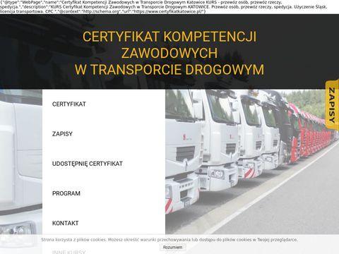 Certyfikat Kompetencji Zawodowych w Transporcie Drogowym Katowice