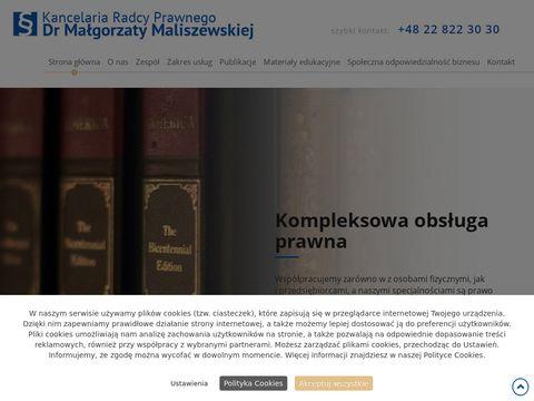 Radca Prawny Dr Małgorzata Maliszewska dochodzenie roszczeń mazowieckie