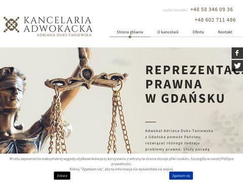ADRIANA DUKS-TANIEWSKA odszkodowania gdańsk
