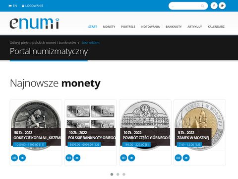 Portal numizmatyczny, por贸wnywarka cen, katalog