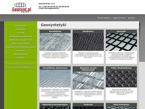 Geosyntetyki - geowłóknina, geotkanina, geosiatka.