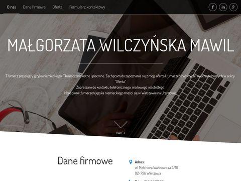 MAWIL MA�GORZATA WILCZYŃSKA tłumacz języka niemieckiego