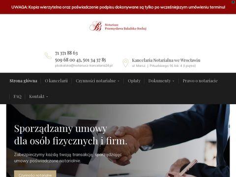 BAKALSKA-SOCHAJ Po艣wiadczenia notarialna Wroc艂aw
