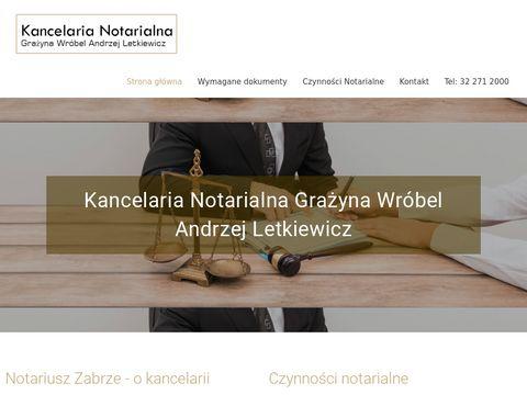 """G.WRÃ""""BEL, A.LETKIEWICZ Biuro notarialne Zabrze"""