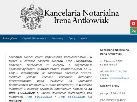 ANTKOWIAK IRENA testament notariusz poznań