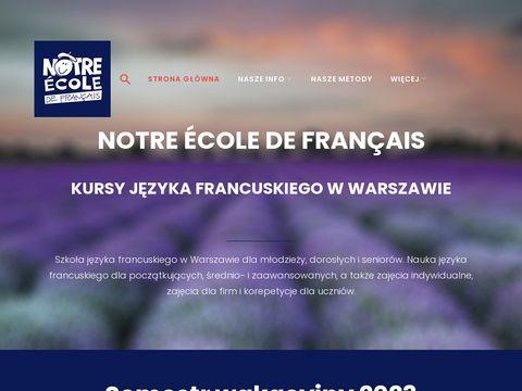 Notre 茅cole de fran莽ais - Szko艂a j臋zyka francuskiego w Warszawie