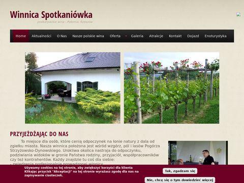 Winnica Spotkaniówka, wino, słupki akacjowe - robinia