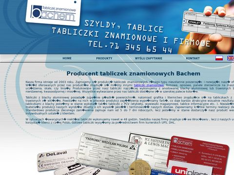 BACHEM producent tabliczek firmowych