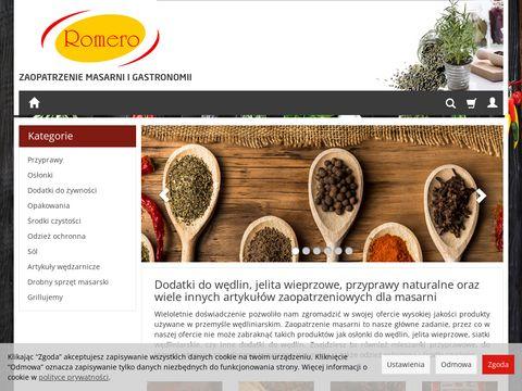 Jelita wieprzowe i inne artykuły zaopatrzeniowe dla masarni firmy Romero.
