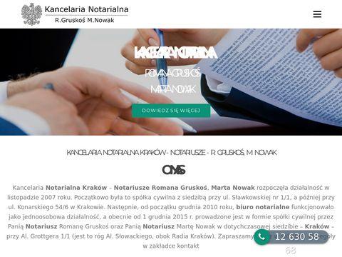 Kancelaria Notarialna Kraków - Notariusz Kraków R.Gruskoś, M.Nowak