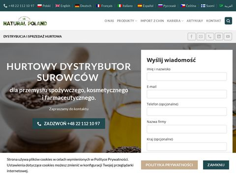 Strona główna - NATURAL POLAND - Hurtowy Dystrybutor Surowców