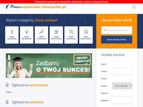PraceMagisterskie-Licencjackie.pl - Pisanie prac magisterskich i licencjackich - Ogłoszenia