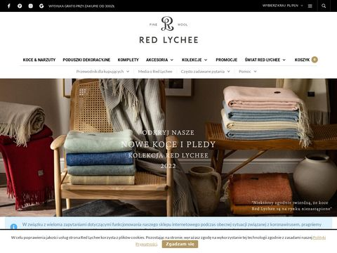 Koc we艂niany od Red-lychee.pl