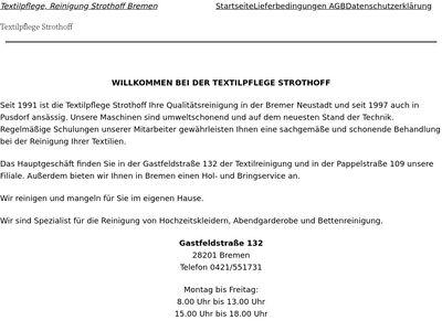 Textilpflege, Reinigung Strothoff