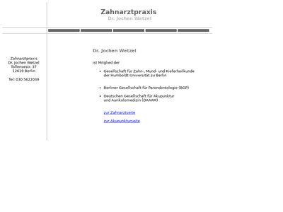 Dr.med.dent. Jochen Wetzel Zahnarzt
