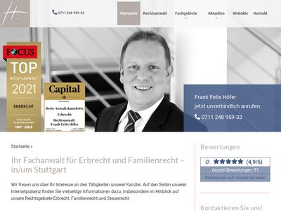 Rechtsanwalt. Fachanwalt für Erbrecht. Fachanwalt für Familienrecht Frank Felix Höfer