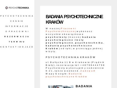 Badania psychotechniczne, psychotechnika Kraków