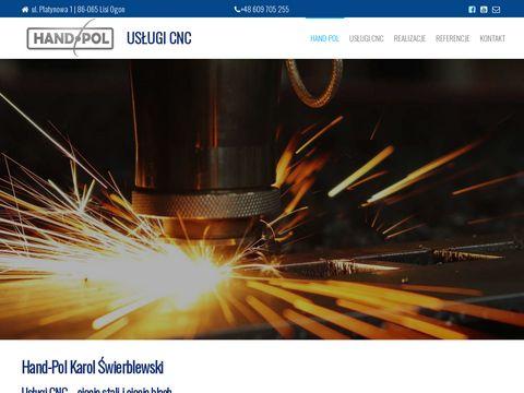 Ycinanie w metalu, wypalanie blach CNC i ciÄ™cie stali. Hand-Pol Bydgoszcz.