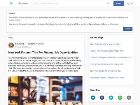 New York Forum - Tips For Finding Job Opportunities