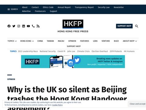 Why is the UK so silent as Beijing trashes the Hong Kong Handover agreement?
