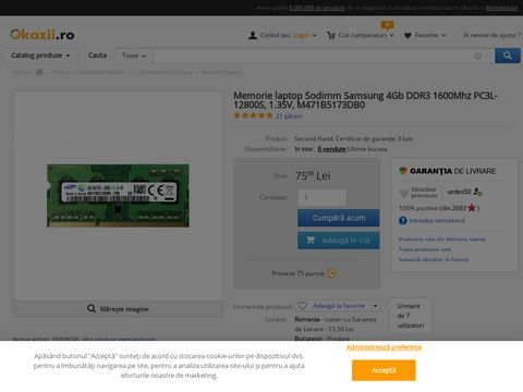 Memorie laptop Sodimm Samsung 4Gb DDR3 1600Mhz PC3L-12800S, 1.35V, M471B5173DB0
