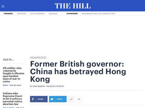 Former British governor: China has betrayed Hong Kong