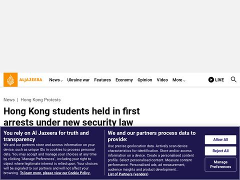 Hong Kong students held in first arrests under new security law