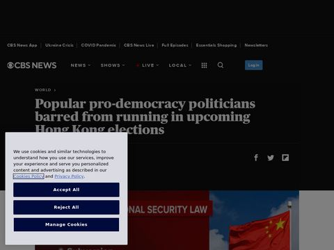 Popular pro-democracy politicians barred from running in upcoming Hong Kong elections