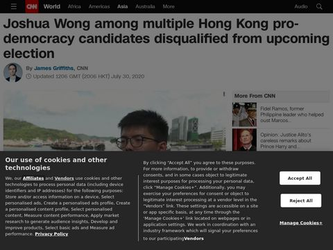 Joshua Wong among multiple Hong Kong pro-democracy candidates disqualified from upcoming election