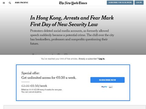 In Hong Kong, Arrests and Fear Mark First Day of New Security Law