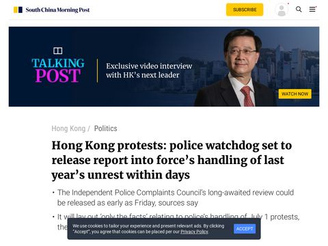 Hong Kong protests: police watchdog set to release report into force's handling of last year's unrest within days