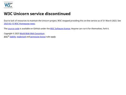 Unicorn - Der Einheitsvalidator des W3C