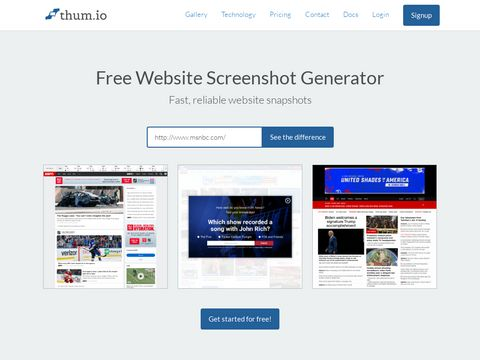 Thum.io | Schnelle Echtzeit-Website-Screenshot-API