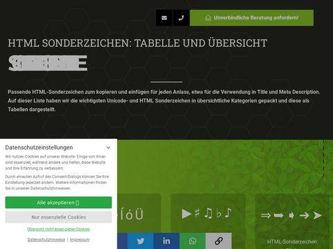 HTML Sonderzeichen - Sonderzeichentabelle